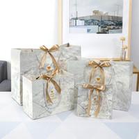 5 adet Mermer Hediye Paketleme Çanta Şerit Noel Dekor Hediye Kağıt Çanta Parti Bebek Duş Çikolata Kutuları Paketi Düğün Iyilik