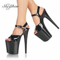 Сандалии Shuzumiao Обувь Женщины Мода 20 см Высокие каблуки Сексуальный Стриптиз Водонепроницаемый Платформа Ненавидь Небо Супер Девушка