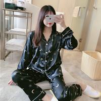 2021 İlkbahar Yaz Ipek Saten Pijama Setleri Kadınlar için Uzun Kollu Baskı Pijama Suit Pijama Homewear Pijama Mujer Ev Giysileri W1225