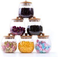 Rora 6 pièces rond coulissants de stockage de nourriture en verre clair avec couvercles de bambou à l'air couvre-bidon de cuisine pour café, farine, thé, sucre, ca