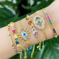 Kadınlar Için Moda Altın Nazar Bilezik Kızlar Için Gökkuşağı CZ Türk Mavi Göz Bilezik Bohemian Trendy Yılan Zinciri Jewelry1