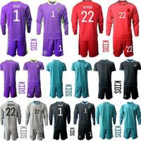 2020 Juventude Manga Comprida Alemanha 1 Neuer Soccer Jersey 20 21 Conjunto Kit Kit Goleiro Gk Criança Futebol Kit 04