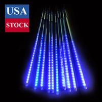 Feux de pluie de douche météores, Falling Raindrop Fairy String Light, 50cm 10 Tubes 480 Lumières de glacée à LED en plein air pour Halloween Noël vacances