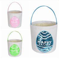 Auf Lager Ostern Bunny Bag Pailletten Tote Printed Trommel Kaninchen Handtasche Ostereikorb Setzen Geschenk Aufbewahrung DIY Party Favor Muscheln LJP834