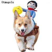 Trajes de gato engraçado animal de estimação cão roupas roupas para halloween cosplay western cowboy equitação casaco capa acessórios1