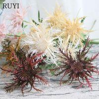 Dekoratif Çiçekler Çelenk Yüksek Kalite Plastik Simülasyon Yeşil Bitkiler 3 Naad Thorn Maydanoz DIY Sahte Çiçek Ev Oturma Odası Dekorasyon AR