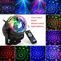 Lampada laser portatile Luci da palcoscenico Disco RGB Seven Modalità illuminazione Mini DJ laser con telecomando per il proiettore di club Party Christmas Via Express
