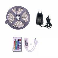 SMD 5050 Nastro adesivo 5M Kit roll roll RGB LED Strip Nastro Light con 24 tasti WiFi Controller LED Supporto impermeabile Musica