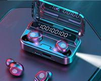 Bluetooth 5.1 سماعات لاسلكية مع ميكروفونات الرياضة للماء TWS سماعات بلوتوث تعمل باللمس التحكم في الموسيقى سماعات مصباح يدوي مصغرة