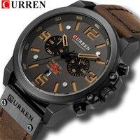 Curren New Fashion Herrenuhren Top Große Zifferblatt Quarz Uhr Leder Wasserdichte Sport Chronograph Uhren Men1
