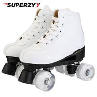 Künstliche leder roller skates doppel linie skates frauen männer erwachsene zwei line skate schuhe patines mit weiß pu 4 räder patins1