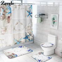 Estilo moderno alfombra de baño y cortina de ducha Conjunto de tiendas de techo de microfibra Mat de piso antideslizante Baño absorbente de baño