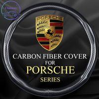 Kohlefaserlenkradabdeckung für Porsche Taycan Panamera Macan 718 Universal 37-38 cm 15 Zoll Leder Trimmstreifen Innenzubehör