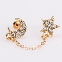Stud Moon Star Cadena en oreja pendientes de orejas Cristal completo Doble color oro Pendientes Orejados para mujeres Accesorios de joyería1