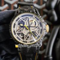 جديد Excalibur العنكبوت RDDBEX0613 مزدوج Tourbillon التلقائي رجالي ووتش الهيكل العظمي الصفراء الهاتفي الكريستال الكربون الصلب CAS الجلود hello_watch