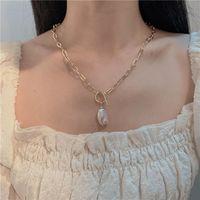 Chunky Collana Bijoux U Forma a forma di catena creativa Lady Pave CZ Zircon Spirale Fibbia Pendente Baroque Baroque Collana perla per perle Donne Gioielli regalo