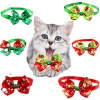 Собака ошейники рождественских животных воротник кошка галстук бабочка регулируемый шеи ремешок кошек галстук рождество печатные украшения подарок подарок LLS96