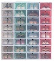 Plastik Ayakkabı Kutuları Çekmece Kalınlaşmak Temizle Toz Geçirmez Ayakkabı Saklama Kutusu Çevirme Şeffaf Ayakkabı Kutuları İstiflenebilir Ayakkabı Organizatör Kutusu WMQ26