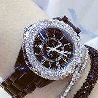 Relógios de diamante mulher famosa marca preta relógio de cerâmica mulheres cinta mulheres relógios de pulso das mulheres mulheres relógios de pulso 201204