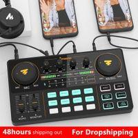 Mikrofon Mikser Profesyonel Ayarlanabilir Hacim Ses USB Cihazı Şarj Edilebilir Podcaster Kiti Amplifikatör Ses Kartı ile Canlı Yayın için