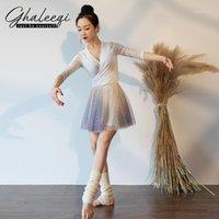 Gonna da ballo da donna di usura della palcoscenica Autumn Autunno e inverno Mesh Star Sequined Yarn Ballet Ballet Training Practice Suit JX0901