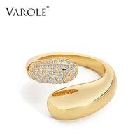 Anel de superfície liso varole com anéis de dedo punk de cristal para mulheres acessórios de cor ouro moda jóias