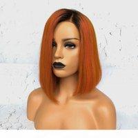 Envío gratuito 180% Densidad de Orange peluca sin cola sintética del frente del cordón con el pelo del bebé 14 pulgadas Ombre Corto Bob pelucas para mujeres Negro