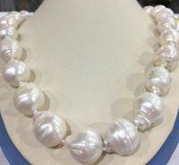 "Raro enorme 15x20mm blanco mar del sur barroco keshi akoya perla collar 18 """