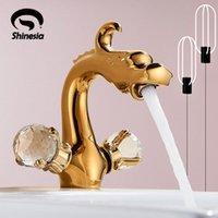 Shinesia Luxury Golden Bassin-Hahn-Drachen Geschnitzte für Waschbecken Fahrzeug Spezieller Tierform-heißen und kalten Wasser-Hahn
