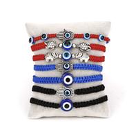 뜨거운 판매 새로운 손바닥 두 라운드 구슬 파란 눈 사악한 눈 붉은 밧줄 뜨개질 조절 묶어 묶음 코드 가닥 꼰 우정 팔찌