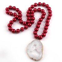 Collane pendente moda 90 cm grande vetro rosso lungo annodato bianco duzy per le donne