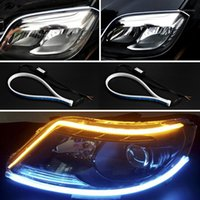 Acil durum ışıkları 2x araba ultrafine 30 cm 45 cm 60 cm şerit ışık esnek led tüp stil sinyal lambaları yırtılma dekoratif lamba1