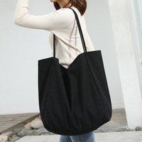 Девушки женщин сумка Холст хозяйственная сумка Многоразовый Soild Extra Large Tote Бакалея Eco Environmental Shopper сумки плеча 105o #