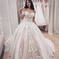 Custom Made Rękawy Koronki Suknie Ślubne Suknie Ślubne z aplikacjami Off Shoulder Sweep Pociąg Plus Rozmiar Tulle Wedding Suknie Ślubne