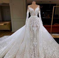 Diseñador Árabe Vestidos de novia con tren desmontable Saudi Dubai Apliqueado encaje Mermaid Mariage Vestido nupcial Vestido Africano de Noiva