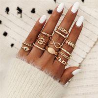 Boho Knuckle Ring set 8 palavras vintage anel empilhável MIDI anéis dedo de ouro acessórios de mão jóias para mulheres meninas