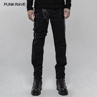 Estilo punky pantalones negros Personalidad PUNK RAVE hombres de empalme desmontable bolsillo diario ocasional hermoso Pantalones Hombre lápiz 1116