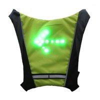 Motocycle Racing Kleidung Glorystar LED drahtlose Sicherheit Umdrehungssignal Licht Weste Fahrrad Reiten Nacht WARNUNG FÜHREN HOHEN GRÜNE BAG 20L1