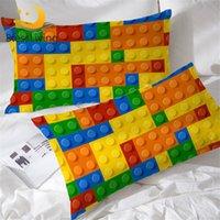 Blssling Toy Pendos de almohada de estampado de almohada Bloques de construcción Funda de almohada para niños Ladrillos coloridos juego Casa Textiles Chicos Cubierta de almohada Y200103