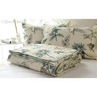 Großhandel-100% Baumwolle Quilt Bettdecke Pastoral Vogel und Blumen Bett Quilt 3Pc Set King Size Quilt Cover Set Home Textile B Jlltxm Soif