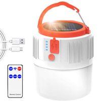 Camping linterna LED de emergencia Portátil de emergencia IP45 impermeable a prueba de lluvia 18650 Batería Linterna con energía solar para tiendas de campaña Colgando Pesca Survivencia
