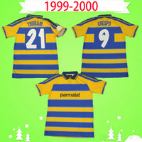99 00 الرجعية Parma Soccer Jerseys 1913 خمر Classic Collection 1999 2000 Clalio Football Shirts # 9 Crespo # 21 Thuram Amoroso Fuser Torrisi