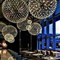 Bola de faísca de aço inoxidável LED Candelabro Moderno Minimalista Starry Restaurant Star Sparkle Ball Candelabro Lâmpada Redonda Frete Grátis