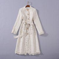 1112 2020 Kostenloser Versand Herbst Marke Gleiche Stil Mantel Schwarze Aprikosen-Rundhals-Hals langarm Tweed-Mode-Womens-Kleidung SH
