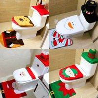زينة عيد الميلاد إمدادات الحمام مجموعة المرحاض غطاء مقعد مرحاض الحمام حصيرة حامل قيعية غطاء المنزل الديكور 1