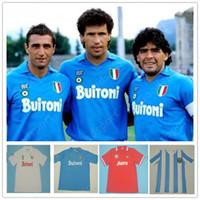 Retro Napoli Formalar 87 88 91 93 Maradona Napoli Klasik Futbol Jersey Mertens Alemao Careca Maradona Hamsik Vintage Futbol Gömlek Calcio