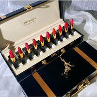 10 PC Rouge à lèvres de Noël Set Boîte-cadeau haute valeur non facile à fade maquillage hydratant don d'anniversaire hydratant