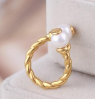 For women for girl Brand Hot Sale double Pearl Real Gold Plated Brand Cluster Cocktail Rings Ring Letter Fashion