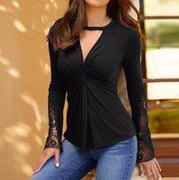 Kadın Bluz Gömlek 2021 Bahar Bayanlar Seksi V Boyun Ince Bluz Dantel Patchwork Uzun Kollu Rahat Katı Gömlek Blusas1