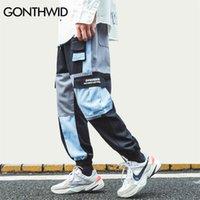 Gonthwid multi pocekts bloco de cor patchwork carga harem corredores calças hip hop harajuku casual streetwear calças calças lj201217